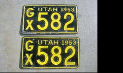 I have a nice pair of original Utah 1953 license plates for sale, call if interested