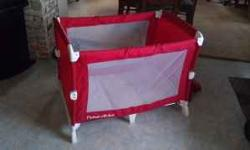 Fisher Price red & white pack n play. No tears or holes. Has original instructions & carry case. Very easy to set up & tear down. $30.00 Graco stroller w/ black & white striped pattern. Neutral colors