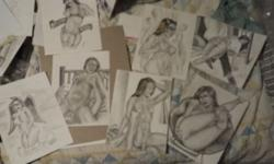 Mostly adult themed paintings and drawings. Kinda hit hard times and need some cash...