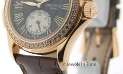 Patek Philippe Travel Time 4934 18K Rose Gold Pearl & Diamonds Watch 4934R Notes: Mint preowned Patek 4934R is a recent purchase with misplaced papers. Factory diamond bezel really makes this timpiece