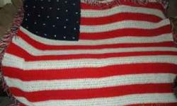 This is a beauthiful handmade crocheted American Flag Afghan. I recently had knee surgery and need to sell this afghan. My price is $70, but I will take the best offer. Thank You. My number to be reac