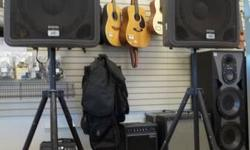 """*Peavey Model: PRNE015 *Two Speakers *400 watt * Grey *Standing High of 6' 4"""" * In Good condition  *Works AMAZING  We also do 3 to 6 month layaway, interest free, 10% down of the sale price! For more"""