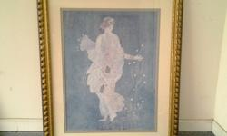 """Flora Goddess of Flowers Print Art (Perfect in foyer or Formal room) or repurpose frame with another picture/print 40"""" inches x 33"""" inches"""