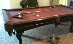 This is a brand name new swimming pool table never ever been used, its cherry wood with wine colored felt. Cost near to $5000.00. Has claw feet and leather pouches, features rack, set of balls, and nu