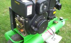 PowerTec Air-Cooled diesel portable compressor, 16CFM @ 100psi, electric start, these are $3990.00 new, electric start, 3-cylinder compressor head, 9.5 gallon tanks, w/manual, contractors series, star