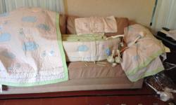 Pottery Barn Kids Unisex Stork Crib Bedding set in Excellent utilized condition. 15 piece set includes the following products:. (1) Quilt. (2) Matching Shams. (1) Bumper. (1) bed skirt with original t