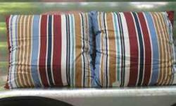 used for a short time in a mall display. appr 16 x 16, 100% cotton, lightweight sheet material, off white background with different width stripes in light blue, burgundy/rust, brown/gold and navy. I s