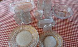 This set is free of chips and in like new condition.  I have a few pieces of the other crystal pattern by Princess House that I will add free.    Service for 4 4 Dinner Plates 4 Salad/Dessert Plates 4