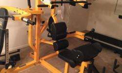 Powertec 3 station home gym with 300+ pounds of free weights. Second owner. Like new. $1800 brand new. Will not ship.