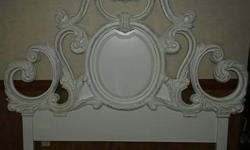Beautiful restored antique headboard for a Queen or Full size bed. Restored and refinished in the shabby chic distressed finish.