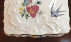 """It's 4.5 l by3.5""""w in excellent condition with original label Queen's English fine bone china Jewelry box With gold trim around the lid See pic for details This ad was posted with the eBay Classifieds"""