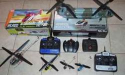 Electric & Nitro Radio Controlled Helicopters $25.00 & up. Beginner & advanced , most are new, some are demo units. Rotors are from 6 inch to 6 feet , Controls are 3 to 8 channels in 2.4 GHz or 72 MHz