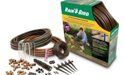 Rain Bird?s most complete drip irrigation starter kit includes watering devices, tubing and connectors for simple setup in gardens or landscaped areas up to 75 sq ft. Installation can be completed in