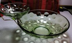 Rare Vintage green glass chip and dip bowl set .Bubble design The dip bowl has a small chip on the rim, other than that in no other flaws. Nice size on the bigger bowl 9 inch diameter by 3'', Dip bowl