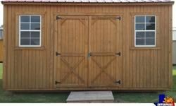 """MINIMIZED PRICING!! 12 X 16 Treated Side Utility Storage Building with 2 - 2x3 windows. Double 36"""" Barn Doors. 8' High Walls. Includes a Free Upgraded Metal Roof. 20 Year Treated Siding. Pressure Trea"""