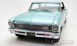 1966 Chevrolet Nova finished in Artesian Turquoise over Black interior. This beautiful muscle car comes to us having benefited from a NO EXPENSE spared restoration with the final product being a showr