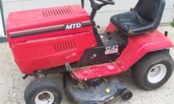 For Sale is a MTD Riding Lawn Mower. 42 in. deck, 12 HP I/C Briggs and Stratton Motor, & 7 speed transmission. It has a new battery and new belt. It runs and cuts well. It leaks a little oil and there