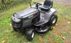 """for sale a wizard 17 hp b&s riding mower 42"""" cut looks and runs great has new battery needs new deck blades and belt can hear run and see mow 300.00 obo may trade for gun or something of equel value l"""