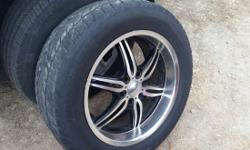 4 20 inch rims 6 hole muth fit chevy GMC 1 almost new tire 3 tires with alot of milage left the tires are not the issue. The rubber comes with the rims also special lock lug nuts with special socket t