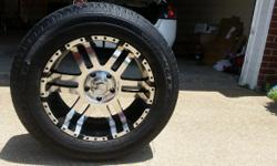 These rims and tires are practically new.They came off of a Dodge Ram. They are in very good condition as you can see from the pictures. They have been rotated and balanced. All you have to do is put