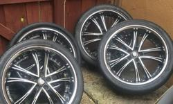 "4 Lexani Rims + Tires 75% Thread 22"" Fits Porsche Cayenne, Panamera, VW Touareg, and more! one tire no good $700 OBO  Call Juan 786-382-9621"