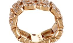 Comprised of intriguing segments that combine to create majestic dcor, this outstanding ring from Roberto Coin tastefully combines the delightful nuance of 18K rose gold with prestigious brilliance of