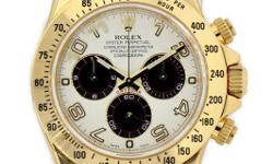 Rolex Oyster Perpetual Cosmograph Daytona Watch. 40mm 18K yellow gold case, tachymeter engraved bezel, screw-down push buttons, ivory dial, and Oysterlock bracelet. If you can see on the pictures, the