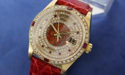 This is a Rolex, Mens Rare 1977 President 18038 Daiamond Ruby 18k Solid Gold Watch 9201 for sale by CLEAN DIAMONDS INC. The asking price is 12649 USD. This watch is in Los Angeles CA United States. Please contact CLEAN DIAMONDS INC to view this Rolex or