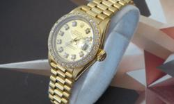 """ocwatchco Pictures are of the Actual Watch Auctioned Ladies Rolex 18K President Oyster Perpetual Ref 69178, """"R"""" Serial Number, Sold 1988, Quick Set Automatic Solid 18K Gold Band Can Fit Comfortably 6inch Wrist, Great Condition Band. This Watch Features"""