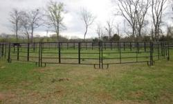 """New Round Pen Panels for Horses - 12' long, 5' 2"""" tall. ONLY $52 each! The panels have 5 bars across with 2 upright supports. They hook together with the attached pins. They are straight across at the"""