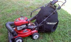 """Sears Craftsman 24"""" 4-in-1 Vaccuum/Shredder/Chipper/Blower. Multi-Speed Self-Propelled. Used very little. Starts in 1 pull. Excellent condition. Moving soon and won't be needing this equipment. I have"""