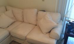 New ultra plush cream sectional for sale- recently moved and does not fit in the new living room. Couch is roughly one year old, originally paid $3,000 but selling for $700 OBO. Brand is Ashley Furnit