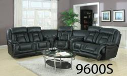 WOW! Check this one out! What an enjoyable reclining sectional with 2 consoles too! Call to order - typically within 1 week!  2 Power Recliners, One Manual Recliner. Black Bonded Leather. Perforated L