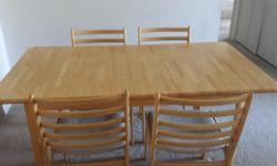 Type: Dining Room Type: Sets Set of Dinning table and 4 chairs. The table has a flap in the center for expansion. We have maintained the set in good condition.