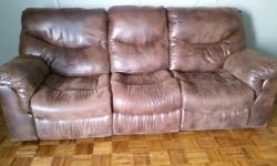 Selling a dual recline sofa and a dual recline loveseat, both in excellent condition! The loveseat has cup holders and a storage compartment and both recline using hidden levers in the crack of the se