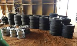 I HAVE SEVERAL TIRES, WHEELS, & SPARES THAT I HAVE COME UP WITH IN THE PAST FEW YEARS & NEVER GOING TO USE THEM SO SELLING (( ONLY )) AS A WHOLE. TAKE ALL OR NONE. TO MANY TO LIST EVERYTHING  TEXT: -L