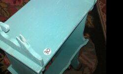 Shabby Chic Aqua and Antique Magazine Table. $25 (top handle is broken but gives it character) Call (910)228-6637