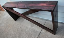 Custom built solid spruce five board console table (6ft x 36 in x 12 in) for your entry way, hallway, behind your sofa, or even in your bedroom. This table is triple stained in black cherry and has be