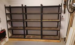 Great storage shelves perfect for your garage 3 individual units with a partial fourth we are throwing in for free they are 36x72x18 each we have dismantled so they eill fit in a car price $100 call 7