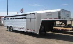 "FOR SALE: Brand New 2011 Logan Coach 24' GN Show Cattle Trailer 8' Wide x 6'6"" Tall Aluminum Self Draining Floors with Vortex Protective Covering and Rubber Mats Rear Bumper Escape Door on Road Side 5"
