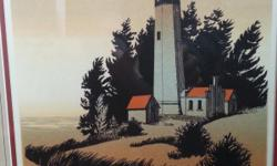 """*Signed Vintage 1970's Walter Butts Silk-Screen Serigraph, a framed color silk-screen serigraph, """"WESTPORT"""", by Walter Butts (American, 20th century). *Frame Measures 22"""" x 18"""", with an image size of"""