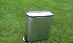 """Excellent Used Condition simplehuman Stainless Steel Butterfly Step Trash can. I believe it's the 10 gal model. Expensive, Works Perfect. About 23"""" deep (including the pedal) and about 10.5"""" wide. Bru"""