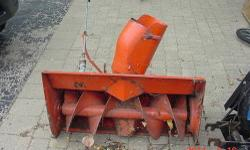 This is a 32 inch single stage snow blower for a Simplicity 700 series Broadmoor mower (ie 707 / 727 / 728 riding mower). This snow blower is in very good shape and complete with belt. I bought it wit