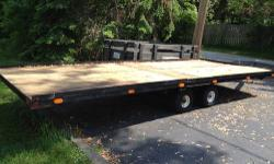 Up for sale is our 4 place steel snowmobile trailer. This trailer could be used for ATV's towing lawn mowers or hauling snowmobiles as we have. The decking was replaced 15 mos ago along with hubs bein