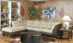 tan microfiber couch No stains, pet free non smoking home. leather does have minor damage from movers. Also comes with ottoman that is brand new espresso color