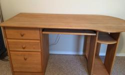 Desk is solid wood. Top measurements are 58 inches long by 25 inches wide. Good condition and well maintained by single owner. Three drawers with the bottom that can be used for files. Pull out tray f