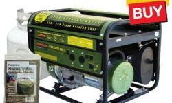 The Sportsman Propane 3,250/4,000-Watt Portable Generator can power common household appliances and power tools. It is equipped with two -120 volt outlets and a 12 volt DC outlet for battery charging.