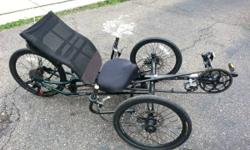 """Lightly used tadpole (two wheels in front, one in rear) tricycle / bike.  I'm the first owner, purchased new a little over a year ago.  Fits many sizes of rider, have tested with 6' - 2"""" down to 5' -"""
