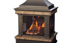 Bring the warmth and beauty of a natural, wood burning fire to your backyard or patio with the handsome Amherst fireplace. With its stylish slate accents and faux brick stamped back panel, all the fea