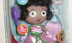 This doll is brand new in package and comes from a smoke-free home. It is the Princess Presto Style and Pose doll from the PBS kids series Super Why. The figure is poseable and comes with dress, cape,